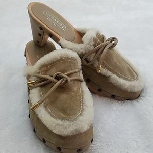 Coach Ruthie Sz 6 Suede Studded Clog Made in Italy